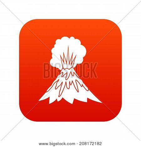 Volcano erupting icon digital red for any design isolated on white vector illustration