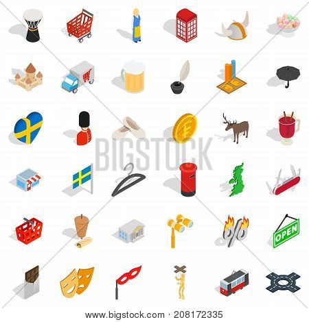 Europe icons set. Isometric style of 36 europe vector icons for web isolated on white background