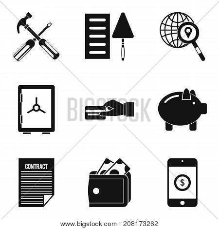 Trade union icons set. Simple set of 9 trade union vector icons for web isolated on white background