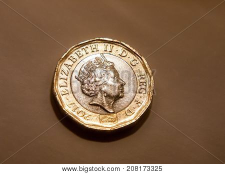 Uk England British Pound Coin Isolated Macro