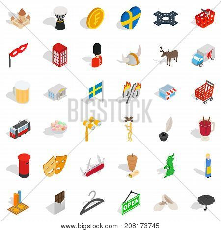 Pound icons set. Isometric style of 36 pound vector icons for web isolated on white background