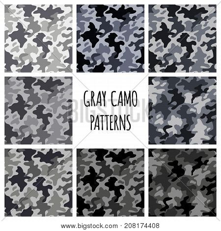 Modern fashion trendy gray camo patterns set, vector illustration