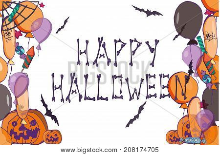 Vector Halloween banner. Hand drawn illustration. Letters from human bones