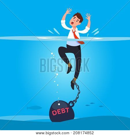 Vector illustration businessman drowning in water chained heavy big debt. Concept financial risk bankrupt and slavery cartoon style