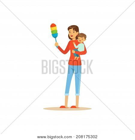 Flat super mom character with colorful pp duster, cleaning the dust. Happy mother with her baby in her arms. Parenthood and motherhood. Caring woman with child. Vector illustration isolated on white.