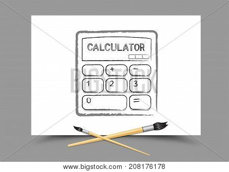 Paintbrush drawing calculator on white paper on gray background. Mathematics calculate lesson. Theme of education