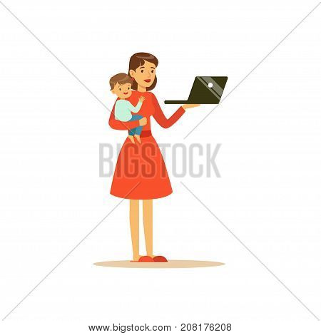 Flat super mom character, holding laptop. Happy mother with her baby in her arms. Parenthood and motherhood. Caring woman with child. In an attempt to manage everything. Vector illustration isolated.