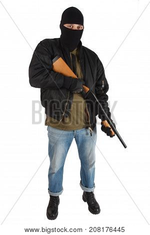 mobster in black mask with shotgun isolated