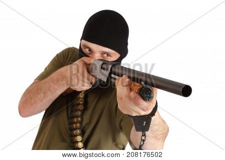 Mobster In Black Mask With Shotgun