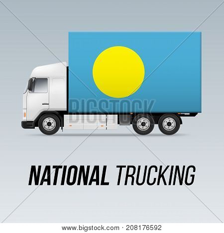 Symbol of National Delivery Truck with Flag of Palau. National Trucking Icon and Palauan flag