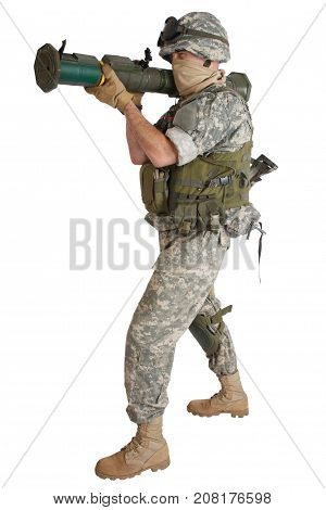 Us Army Soldier With At4 Rocket Launcher