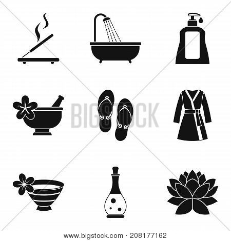 Aroma oil icons set. Simple set of 9 aroma oil vector icons for web isolated on white background