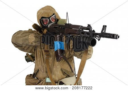 Stalker in gas mask with weapon isolated on white
