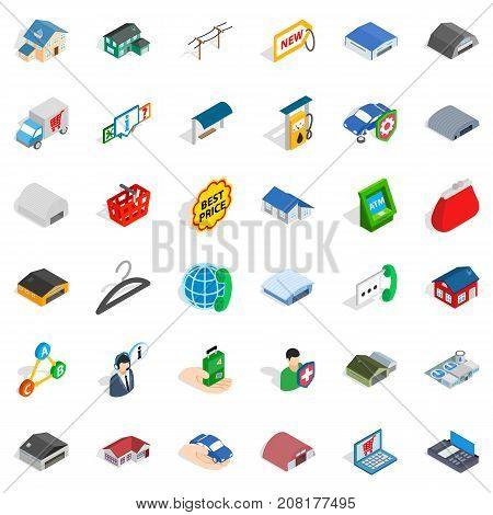 Hangar icons set. Isometric style of 36 hangar vector icons for web isolated on white background