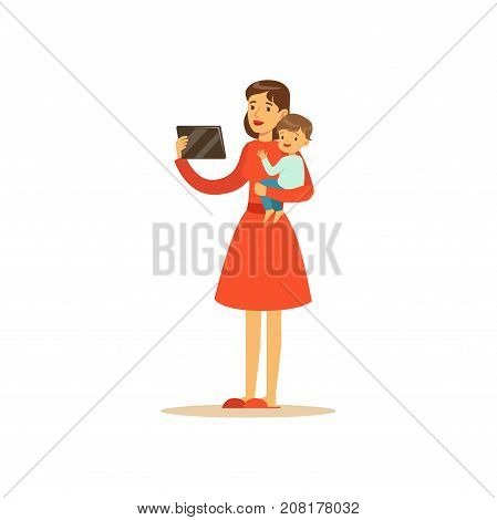 Flat super mom character, holding the tablet. Happy mother with her baby in her arms. Parenthood and motherhood. Modern technologies. Caring woman with child. Vector illustration isolated on white.