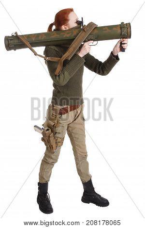 Girl Mercenary With Rpg Rocket Launcher