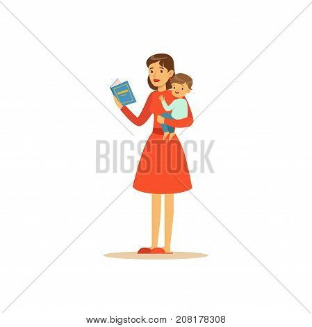 Flat super mom character, reading book. Happy mother with her baby in her arms. Parenthood and motherhood. Caring woman with child. In an attempt to manage everything. Vector illustration isolated