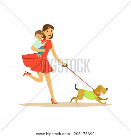 Flat super mom character, walking a dog. Happy mother with her baby in her arms. Parenthood and motherhood. Caring woman with child. Taking care of a pet. Vector illustration isolated on white.
