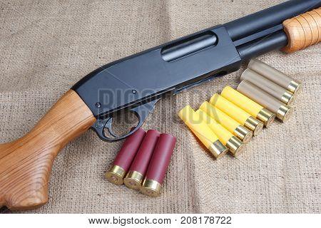 pump action shotgun with cartridges on canvas background