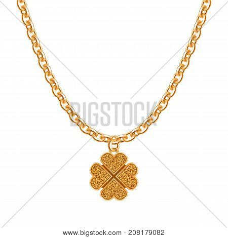 Golden chain necklace with clover pendant. Jewelry design.