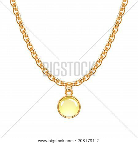 Golden chain necklace with round glass pendant. Jewelry design.