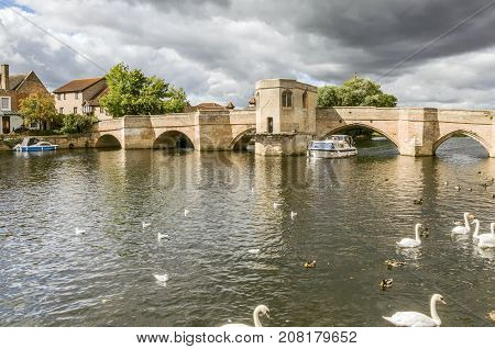 15th century bridge, over the river great Ouse in St Ives, camridgeshire. A well known landmark