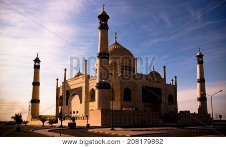 Exterior view to Friendly Fatima Zahra mosque aka copy of Taj Mahal in Kuwait