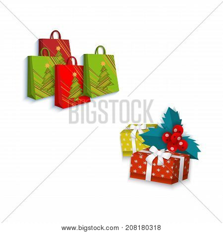 vector flat present gift glossy paper shopping bag with christmas tree image, square box presents with white ribbon bow, mistletoe leaves and berry. Isolated illustration on a white background.