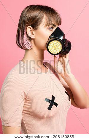 Fashionable Woman With Respirator