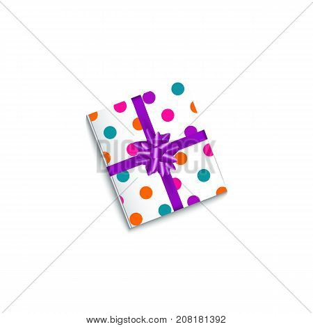 Realistic birthday, Christmas gift, present box wrapped in polka dot paper and tied with purple ribbon, vector illustration isolated on white background. Realistic present box, Birthday gift
