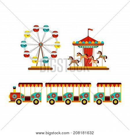 vector flat amusement park objects icon set. Merry go round, Funfair carnival vintage flying horse carousel, kid steam train and Ferris wheel. Isolated illustration on a white background.