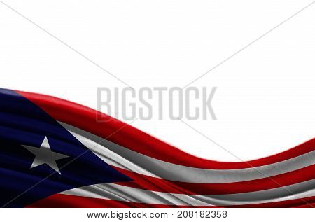 Grunge colorful flag Puerto Rico with copyspace for your text or images,isolated on white background. Close up, fluttering downwind.