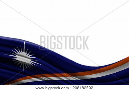 Grunge colorful flag Marshall Islands with copyspace for your text or images,isolated on white background. Close up, fluttering downwind.
