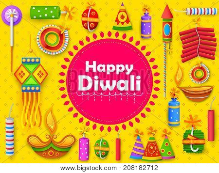 illustration of burning diya and firecracker on Happy Diwali Holiday background for light festival of India