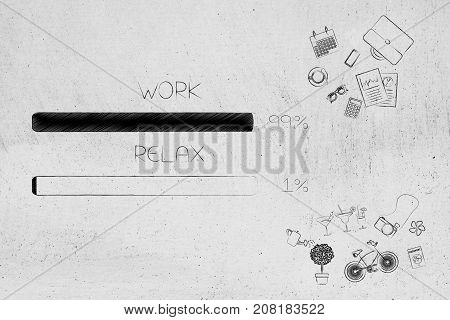 Work And Relax Percentage Bars Surrounded By Office And Leisure Objects With Work Being Predominant