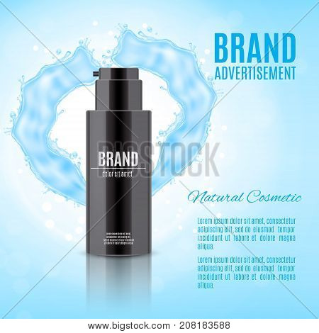 Cosmetic ads template. Realistic cosmetic bottle for cream or other product on a glitter background. Design for ads or magazine. 3d illustration. EPS10 vector