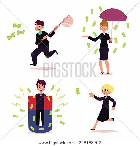 vector flat cartoon girl, woman clerk character standing under money rain with umbrella, man with magnet attracting dollars, people running for money set. Isolated illustration on a white background.