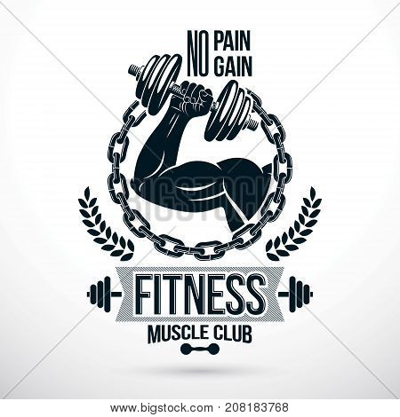 Muscular athletic sportsman arm holding disc weight dumb-bell and composed with iron chain. Gym weightlifting and fitness sport club vector emblem