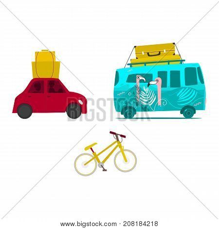 Car trip, surf van with baggage on roof, touristic mountain bike, flat vector illustration isolated on white background. Car trip, surf van with luggage, suitcases on top, bike travelling