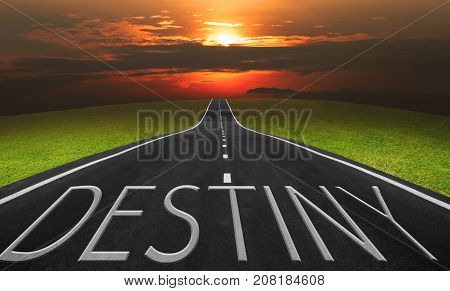 Asphalt road and landscape background with destiny words Business concept photo.