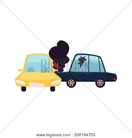 vector flat cartoon car accident. Blue vehicle crashed into yellow one and got fire and black smoke from hood and cracked side window glass. Isolated illustration on a white background.