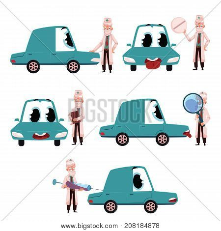 Old male doctor helping, curing funny car character, set of cartoon vector illustrations isolated on white background. Cartoon doctor curing car chatacter, auto service concept