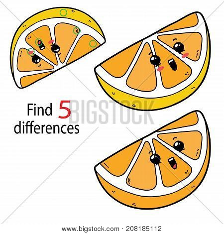 Vector illustration of kids puzzle educational game Find 5 differences for preschool children with cartoon lemon character