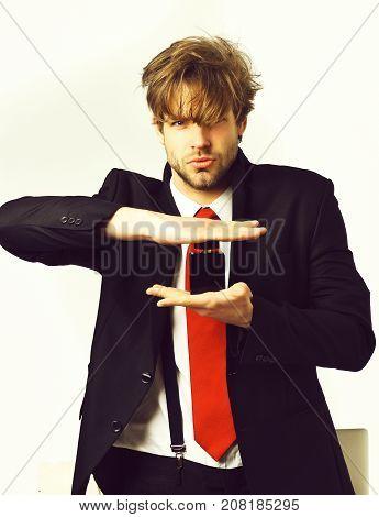 Caucasian Stylish Man Posing With Perfume Isolated On White