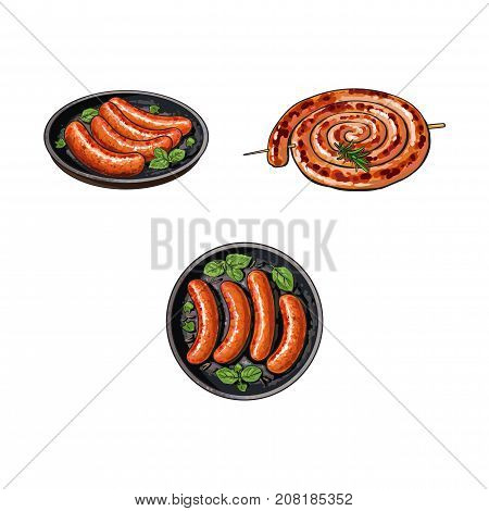 Grilled sausages on stick and in frying pan, sketch style vector illustration on white background. Realistic hand drawing of grilled, fried, barbequed sausages, long and short