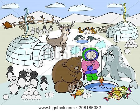 North Pole vector illustration. Educational game for kids educational game. Arctic animals