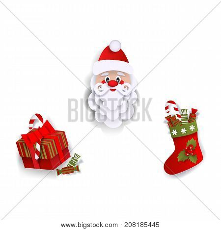 Paper cut Santa Claus, Christmas stocking and present box, decoration elements, flat vector illustration isolated on white background. Flat style Santa Claus, Christmas stocking and present box