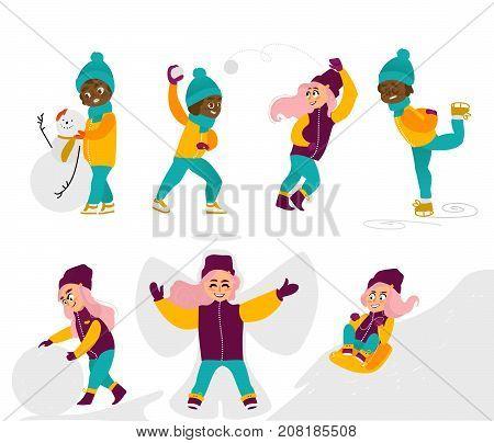 Set of kids, children, girls doing winter activities, having fun, cartoon vector illustration isolated on white background. Kids, children, girls play snowballs, make snowman, ice skate, ride a sled