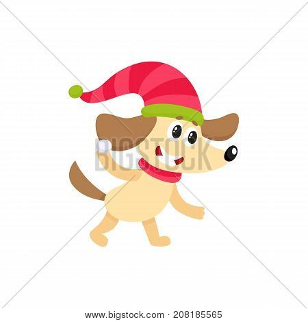 Cute little dog character playing, throwing snowball in hat and scarf, winter activity, cartoon vector illustration isolated on white background. Little baby dog animal character playing snowballs