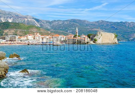 Beautiful view of Old Town on background of mountains Budva Montenegro